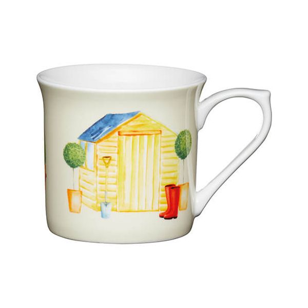 KitchenCraft China 300ml Fluted Mug, Garden Shed