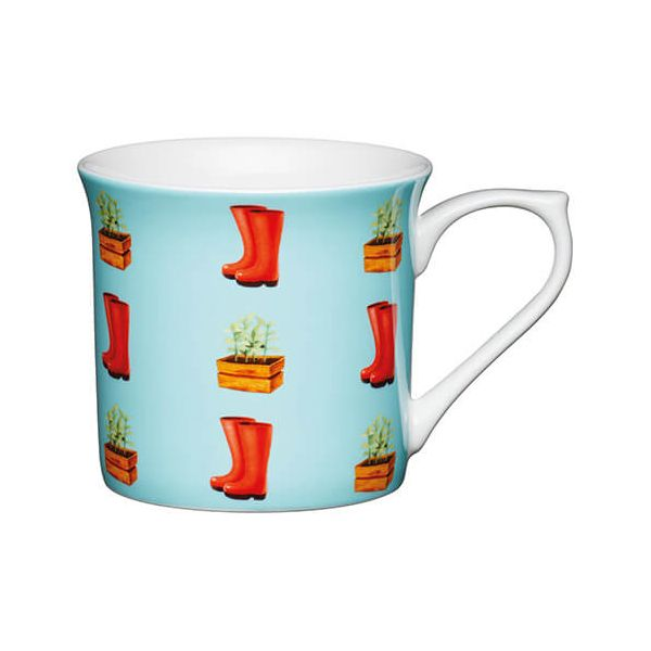 KitchenCraft China 300ml Fluted Mug, Wellies