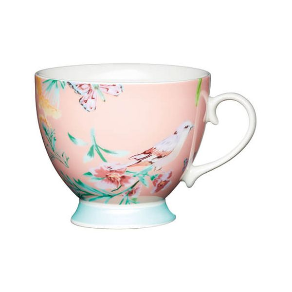 KitchenCraft China 400ml Footed Mug, Peach Birds