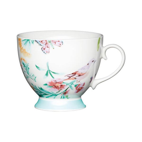KitchenCraft China 400ml Footed Mug, White Birds