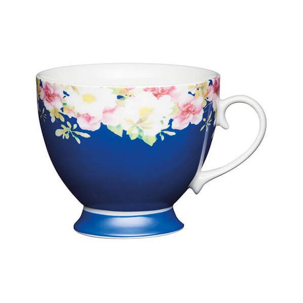 KitchenCraft China 400ml Footed Mug, Blue Border