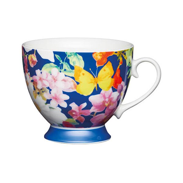 KitchenCraft China 400ml Footed Mug, Blue Butterfly