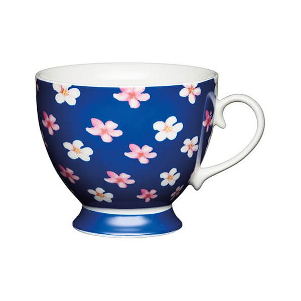 KitchenCraft China 400ml Footed Mug, Blue Ditsy