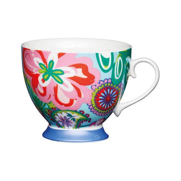 KitchenCraft China 400ml Footed Mug, Bright Floral