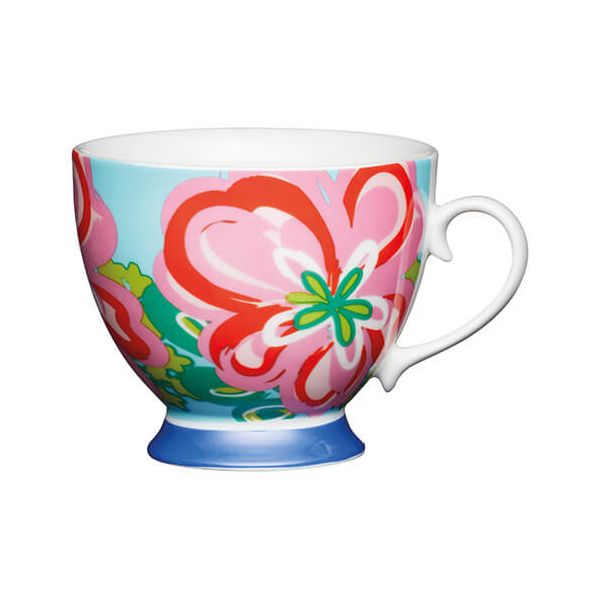KitchenCraft China 400ml Footed Mug, Large Floral
