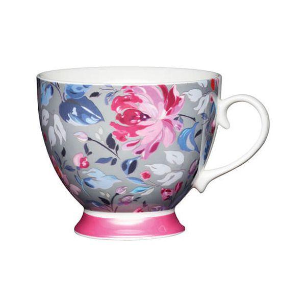 KitchenCraft China 400ml Footed Mug, Grey Floral