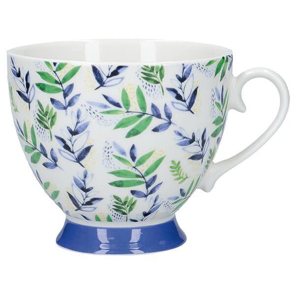 KitchenCraft China 400ml Footed Mug, Leafy Lemon