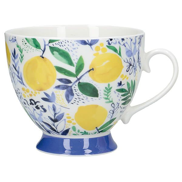 KitchenCraft China 400ml Footed Mug, Sweet Lemon