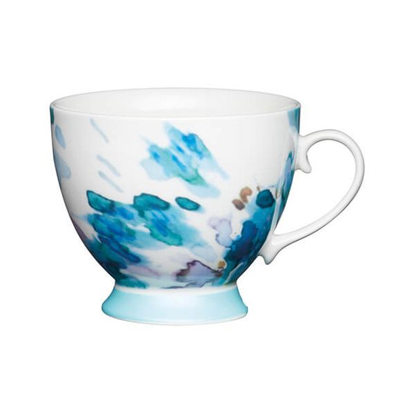KitchenCraft China 400ml Footed Mug, Painted Floral