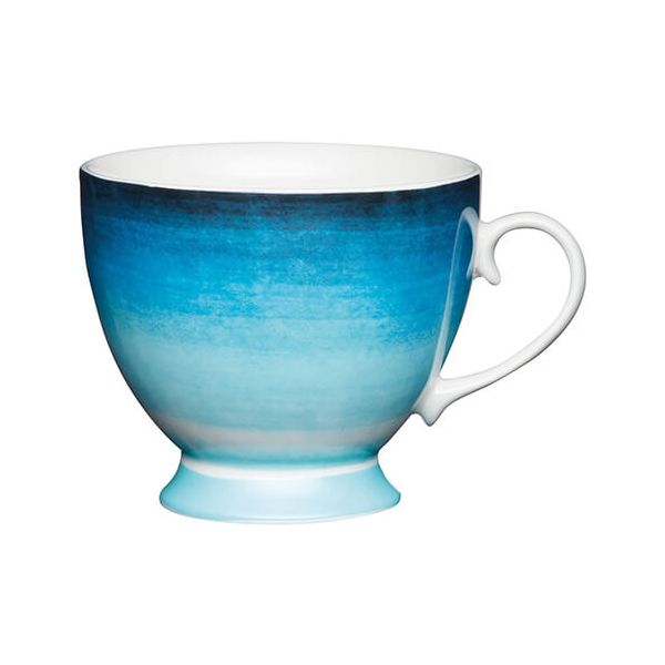 KitchenCraft China 400ml Footed Mug, Ombre Stripe