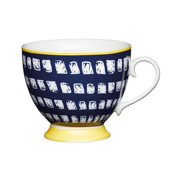 KitchenCraft China 400ml Footed Mug, Navy Squares