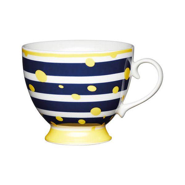 KitchenCraft China 400ml Footed Mug, Yellow Spot