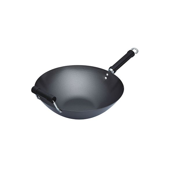 World Of Flavours Oriental 36cm Carbon Steel Non-Stick Wok With Phenolic Handle