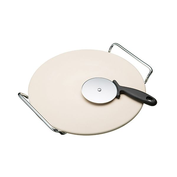 World of Flavours Italian Pizza Stone Set with 32cm Stone, Stand and Pizza Cutter