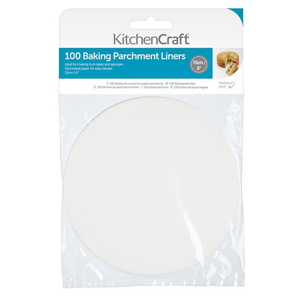 KitchenCraft Round 15cm Siliconised Baking Papers