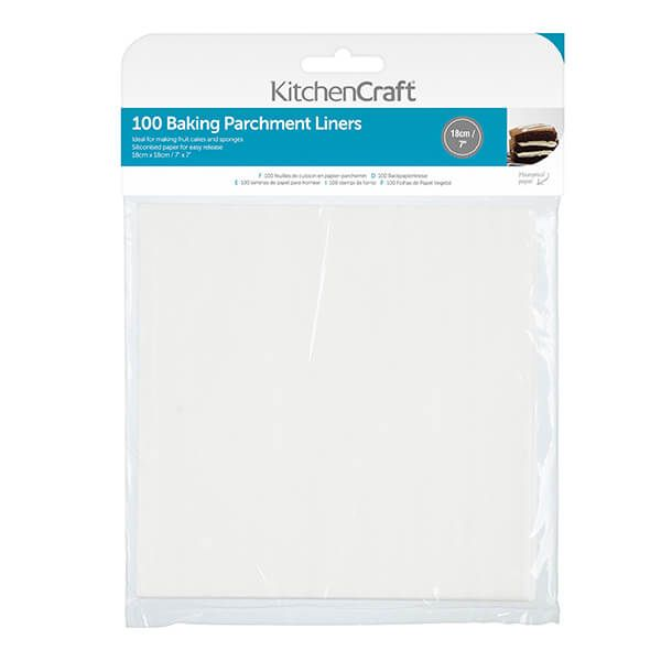 KitchenCraft Square 18cm Siliconised Baking Papers