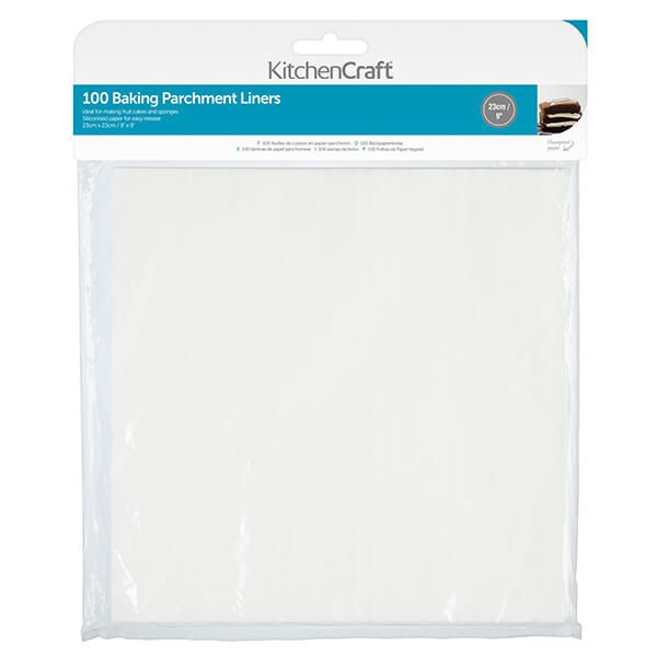 KitchenCraft Square 23cm Siliconised Baking Papers
