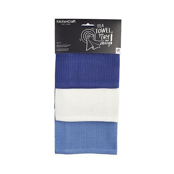 KitchenCraft Waffle Blues Tea Towels 3 Piece Set