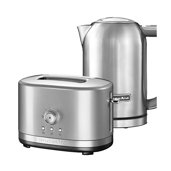KitchenAid Contour Silver & Stainless Steel 2 Slot Manual Toaster and 1.7L Kettle Set