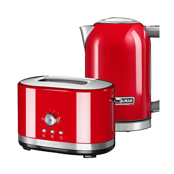 KitchenAid Empire Red 2 Slot Manual Toaster and 1.7L Kettle Set