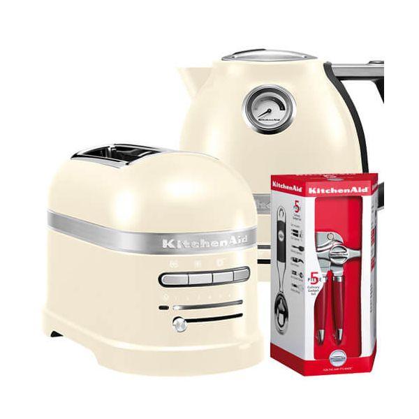 KitchenAid Artisan Almond Cream 2 Slot Toaster and Kettle Set with FREE Gift