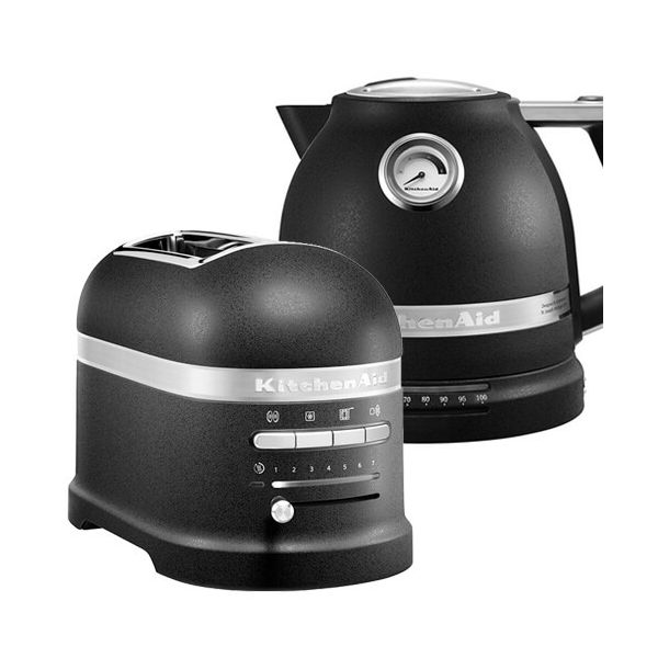 KitchenAid Artisan Cast Iron Black 2 Slot Toaster and Kettle Set