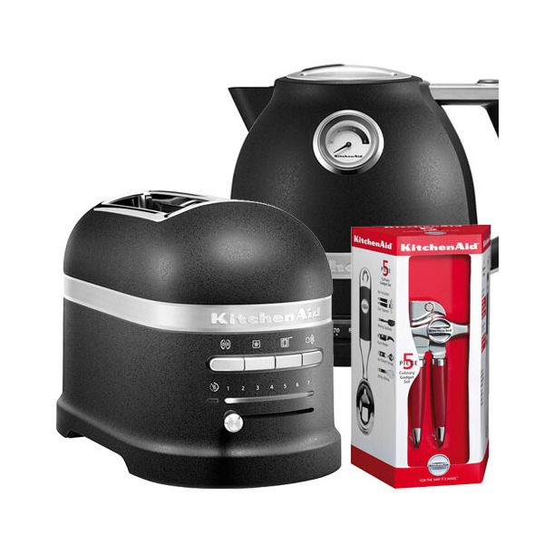 KitchenAid Artisan Cast Iron Black 2 Slot Toaster and Kettle Set with FREE Gift