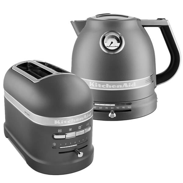 KitchenAid Artisan Matt Imperial Grey 2 Slot Toaster and Kettle Set - Exclusive to Harts of Stur