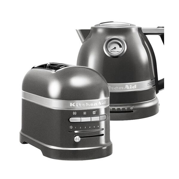 KitchenAid Artisan Medallion Silver 2 Slot Toaster and Kettle Set