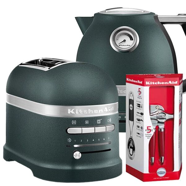 KitchenAid Artisan Pebbled Palm 2 Slot Toaster and Kettle Set with FREE Gift