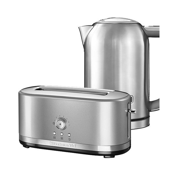 KitchenAid Contour Silver Long Slot Manual Toaster and Stainless Steel 1.7L Kettle Set