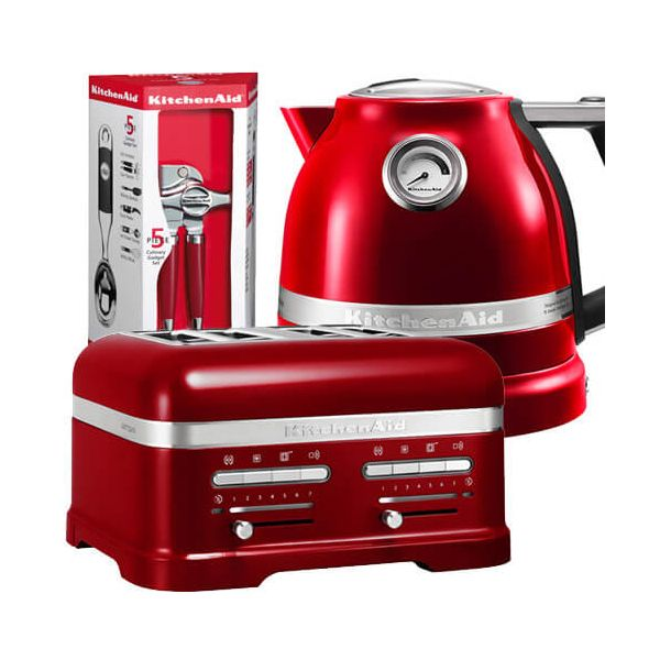 KitchenAid Artisan Candy Apple 4 Slot Toaster and Kettle Set with FREE Gift