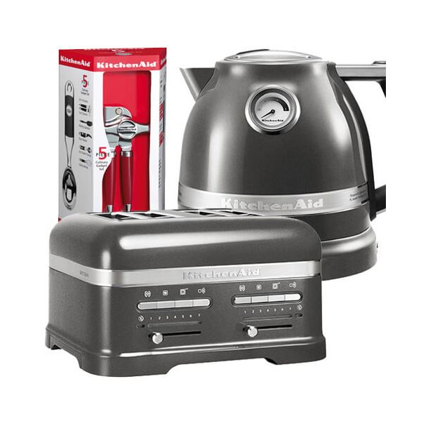 KitchenAid Artisan Medallion Silver 4 Slot Toaster and Kettle Set with FREE Gift