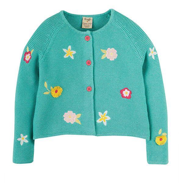 Frugi Organic Aqua/Flower Emilia Embroidered Cardigan