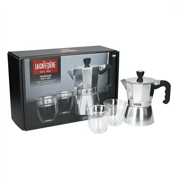 La Cafetiere Stovetop Gift Set - 180ml Stovetop Espresso Maker With Two 65ml Espresso Glasses