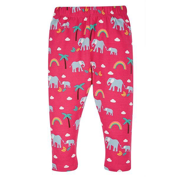 Frugi Organic Deep Pink Rainbow Walks Libby Printed Leggings