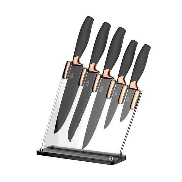 Taylors Eye Witness Brooklyn Copper 5 Piece Sloping Knife Block Set