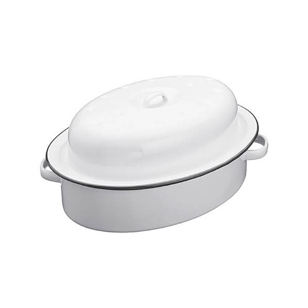 Living Nostalgia Enamel 30cm Oval Roaster with Lid