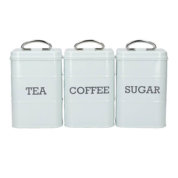 Living Nostalgia Vintage Blue Three Piece Storage Tin Set