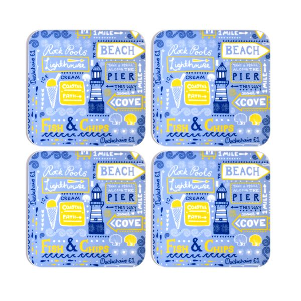 Melamaster Moulded Coaster Pack Of 4 Beachside