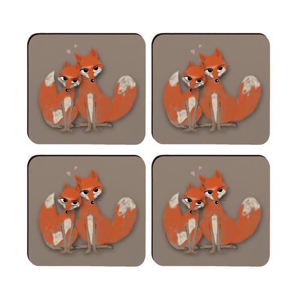Melamaster Moulded Coaster Pack Of 4 Fox