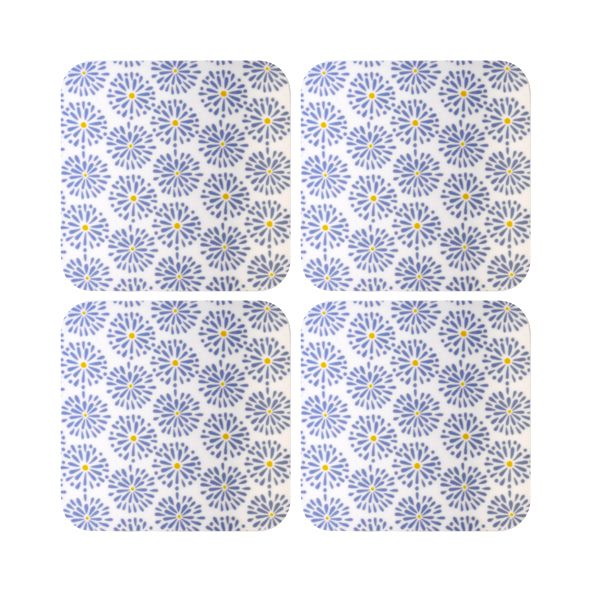 Melamaster Moulded Coasters Pack Of 4 Blooms