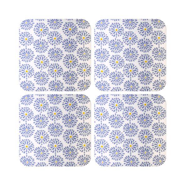 Melamaster Moulded Coasters Pack Of 4 Blooms