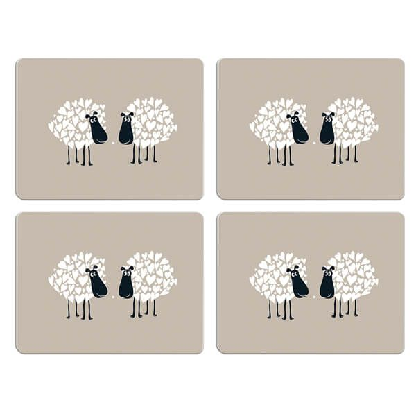 Melamaster Moulded Pack Of 4 Placemat Sheep