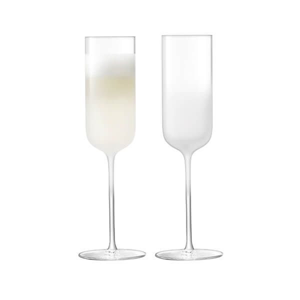 LSA Mist Champagne Flute 225ml Part Frost Set Of Two