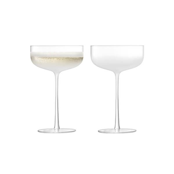LSA Mist Champagne & Cocktail Saucer 220ml Part Frost Set Of Two