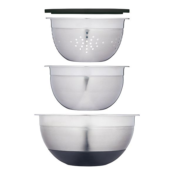 MasterClass Smart Space Stainless Steel Three Piece Bowl Set with Colander