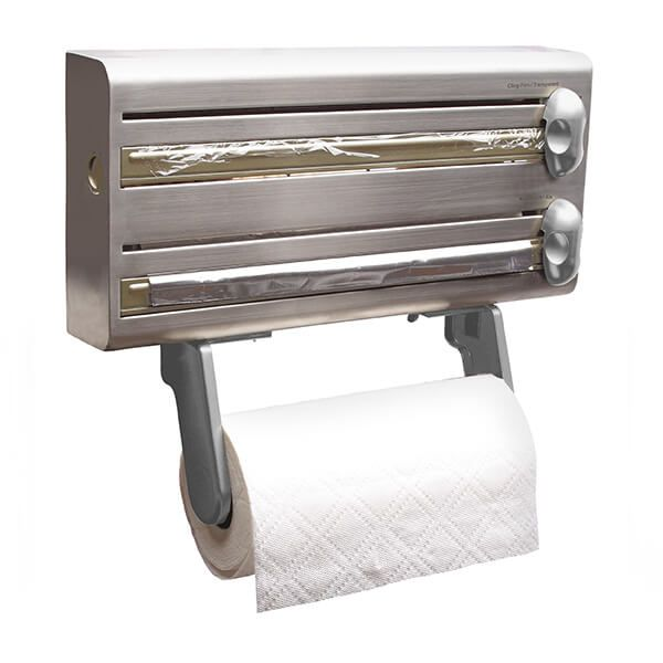 MasterClass Stainless Steel Cling Film, Foil and Kitchen Towel Dispenser