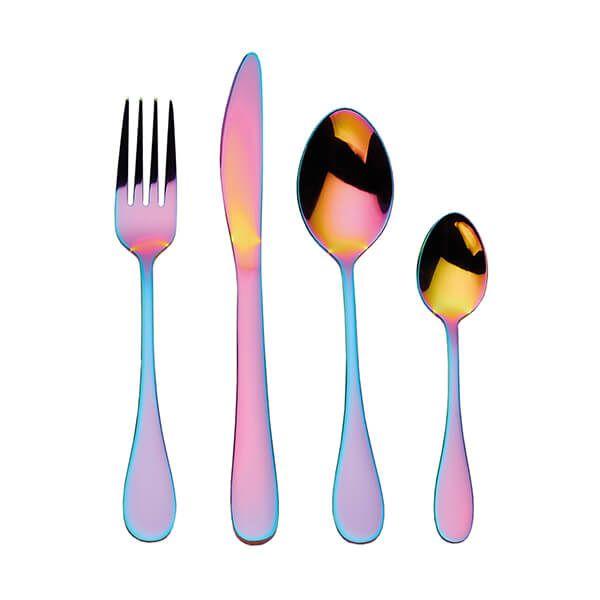 Mikasa Iridescent Rainbow 16 Piece Stainless Steel Cutlery Set