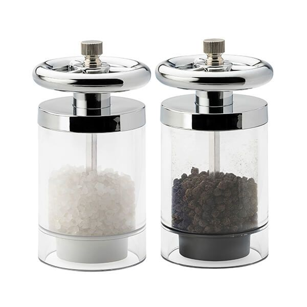 English Tableware Company Kent Chrome Plated Wheel Top Filled Salt & Pepper Mill Set